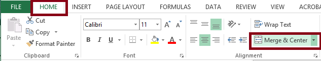 Excel Home tab with the Merge & Center option from the Alignment group selected. The Home tab and Merge & Center option are both highlighted.