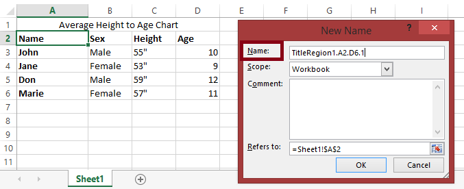 "Screenshot of Excel spreadsheet sheet 1 with the first row containing a title and cells A2 through D6 containing data.  The New name dialog is also shown with the name field highlighted and containing the text ""TitleRegion1.A2.D6.1""."