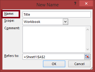 "Excel New Name dialog with the Name field highlighted and containing the text ""Title""."