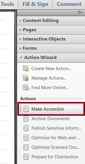 Adobe Acrobat Tools panel with Action Wizard option expanded and the Make Accessible Action selected and highlighted.