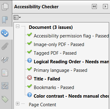 Acrobat Accessibility Checker results panel selected and open showing the accessibility results for a PDF.  The checker lists 3 Document issues including reading order, title, and color contrast.