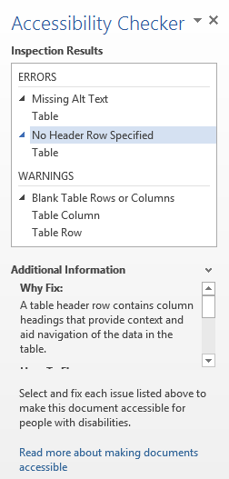 Screenshot of the Microsoft Word Accessibility Checker panel showing the inspection results (Errors and Warnings) for the current document. The No Header Row Specified error is selected and additional information about the error is provided.
