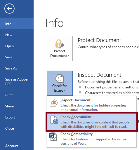 The Word File tab with Info menu open.  The check form issues option is selected and its sub-menu is open. The Check Accessibility option is selected and highlighted.