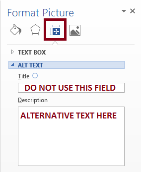 Alt text and description fields in the Format Picture panel