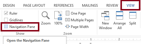 Screenshot of the Microsoft Word View tab with both the View tab and the Navigation Pane checkbox highlighted.