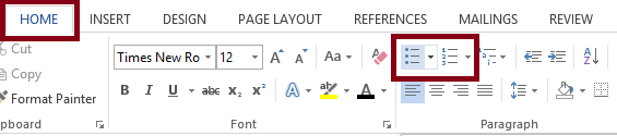 The Word Home tab with the Bullets option in the Paragraph group selected. The Home tab, Bullets option, and Numbering option in the paragraph group are highlighted.